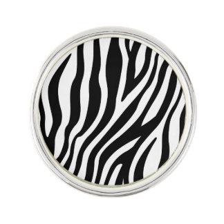 Zebra Print Black And White Stripes Pattern Lapel Pin