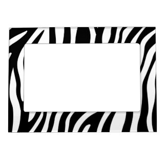 Zebra Print Black And White Stripes Pattern Magnetic Frame