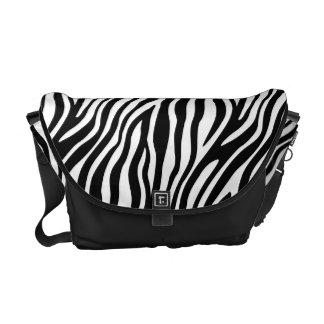 Zebra Print Black And White Stripes Pattern Messenger Bags