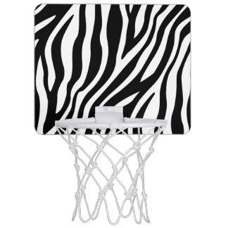 Zebra Print Black And White Stripes Pattern Mini Basketball Hoop