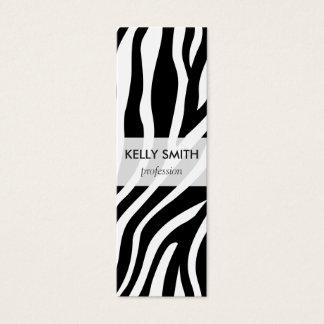 Zebra Print Black And White Stripes Pattern Mini Business Card