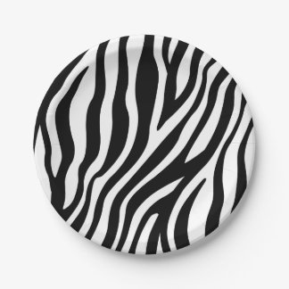 Zebra Print Black And White Stripes Pattern Paper Plate