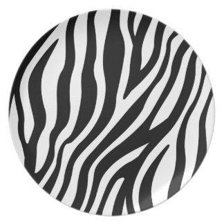 Zebra Print Black And White Stripes Pattern Plate