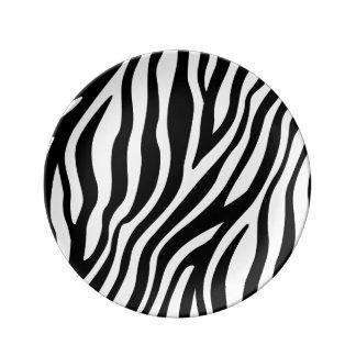 Zebra Print Black And White Stripes Pattern Plate