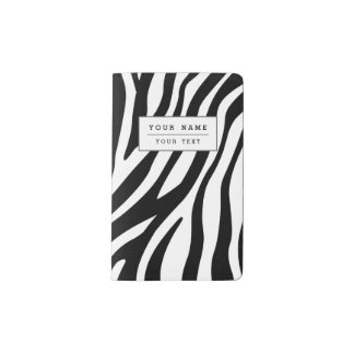 Zebra Print Black And White Stripes Pattern Pocket Moleskine Notebook