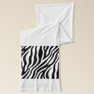 Zebra Print Black And White Stripes Pattern Scarf