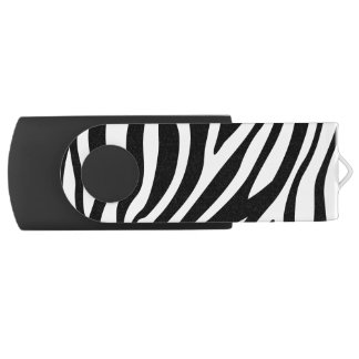 Zebra Print Black And White Stripes Pattern Swivel USB 2.0 Flash Drive