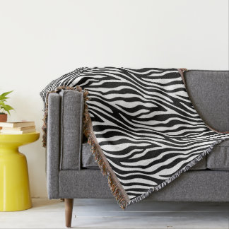 Zebra Print Black And White Stripes Pattern Throw Blanket