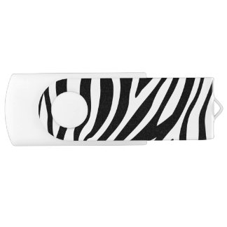 Zebra Print Black And White Stripes Pattern USB Flash Drive