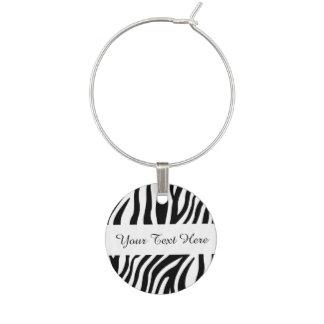 Zebra Print Black And White Stripes Pattern Wine Charm