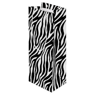 Zebra Print Black And White Stripes Pattern Wine Gift Bag