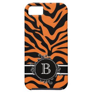 Zebra Print Black Orange Swirly Monogram iPhone 5 Cover