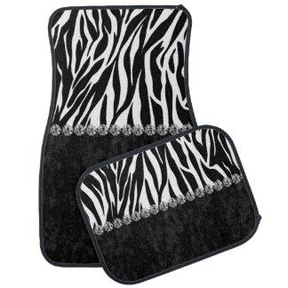 Zebra print black velvet diamond bling car mat