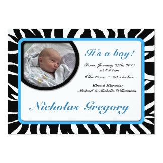 Zebra Print Blue Birth Announcements