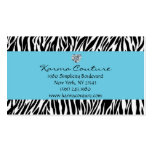 zebra print blue w/ heart shaped diamond Double-Sided standard business cards (Pack of 100)