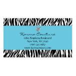 zebra print blue w/ heart shaped diamond business card template