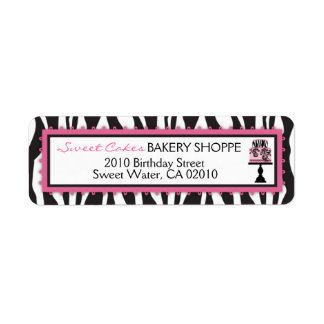 Zebra Print Cakes Bakery Business Address Label