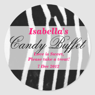 Zebra print Candy Buffet Sticker