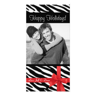 Zebra print christmas photocard photo greeting card