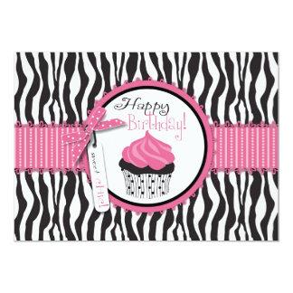 Zebra Print & Cupcake Birthday 13 Cm X 18 Cm Invitation Card