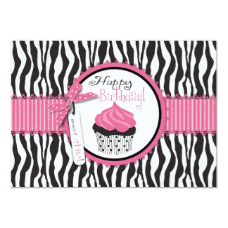 Zebra Print & Cupcake Birthday Card