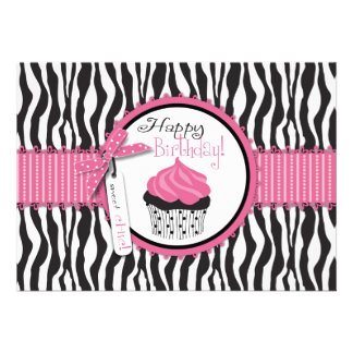 Zebra Print Cupcake Birthday Invitations