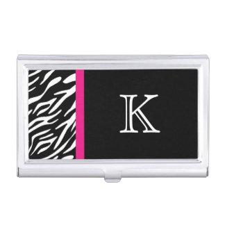 Zebra Print Custom Monogram Business Card Holder