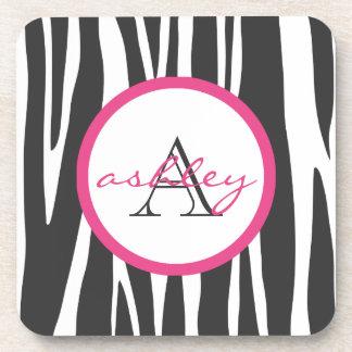 Zebra Print Dark Pink Monogram Coasters