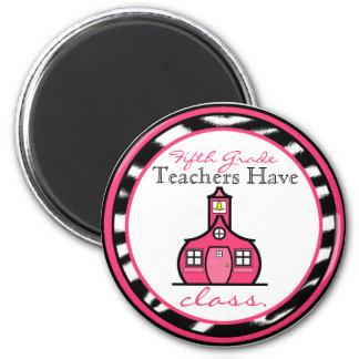 Zebra Print Fifth Grade Teacher Magnet