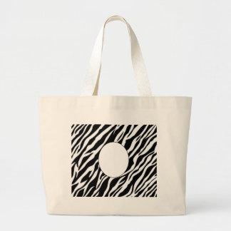 zebra print frame add photo or text jumbo tote bag