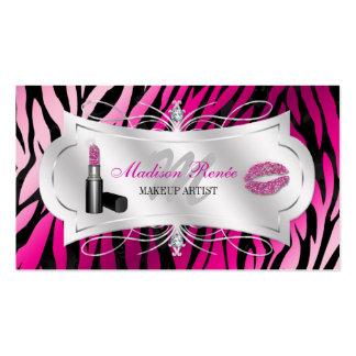 Zebra Print Fuchsia Black Glitter Cosmetology Pack Of Standard Business Cards