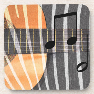 Zebra Print Guitar with Notes Coasters