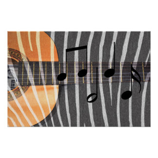 Zebra Print Guitar with Notes