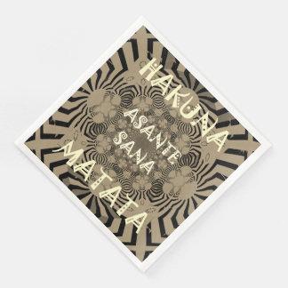 Zebra Print Hakuna Matata Text Paper Napkins
