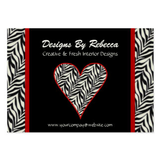 Zebra Print Heart Business Card