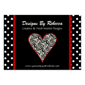 Zebra Print Heart with Polka Dots Business Card