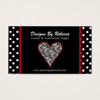 Zebra Print Heart with Polka Dots Business Card
