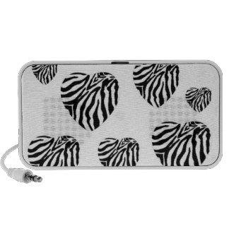 Zebra Print Hearts Doodle Speaker