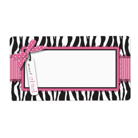 Zebra Print & Hot Pink Accent Name Tag Shipping Label