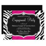 Zebra Print Hot Pink Diamond Engagement Party 13 Cm X 18 Cm Invitation Card