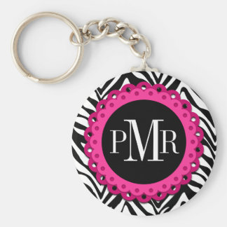 Zebra Print Hot Pink Lace Monogram Personalized Key Ring