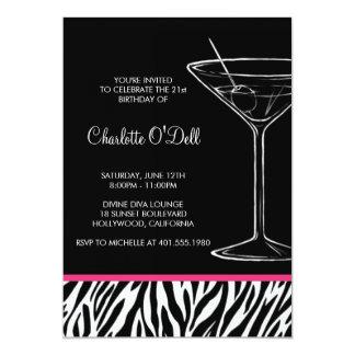 Zebra Print Martini Birthday Invitation