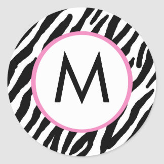 Zebra Print Monogrammed Stickers