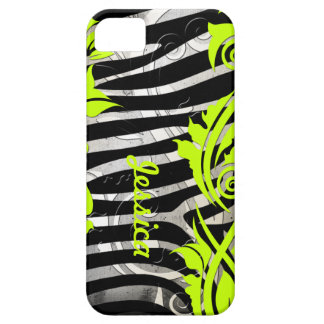 Zebra Print & Neon Flourishes Iphone 5 Case