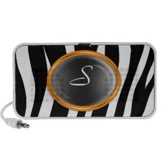 Zebra Print Orange Glass Monogram Doodle Speaker