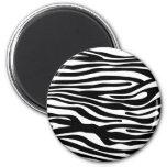 Zebra Print Pattern - Black and White Refrigerator Magnets