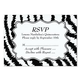 Zebra Print Pattern Quinceanera 9 Cm X 13 Cm Invitation Card