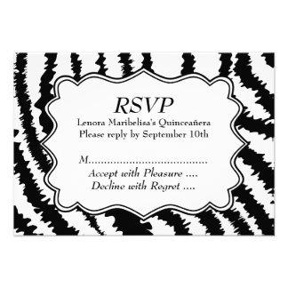 Zebra Print Pattern Quinceanera Personalized Invites
