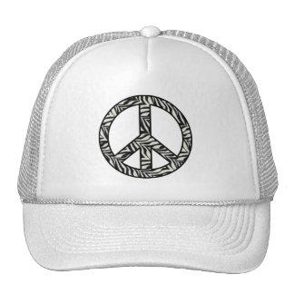 Zebra Print Peace Sign Cap Trucker Hat