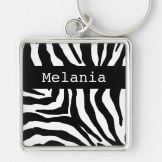 Zebra Print Personalized Name Key Chain